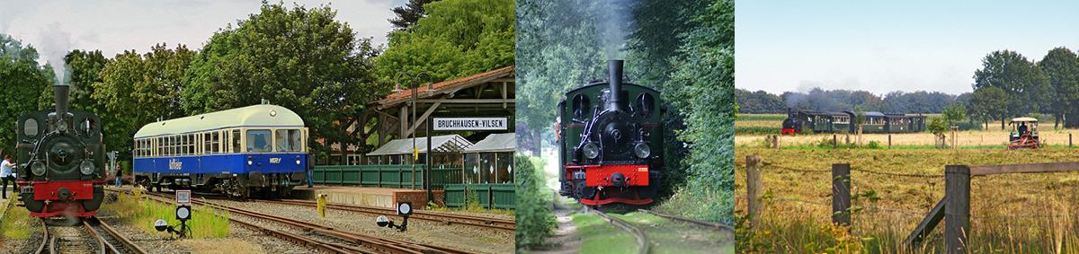 von links nach rechts: Museumseisenbahn Bruchhausen-Vilsen_Kaffkieker, Foto: Dieter Koch | Museumseisenbahn Bruchhausen-Vilsen, Foto: Andreas Achberger | Museumseisenbahn Bruchhausen-Vilsen, Foto: Dieter Koch