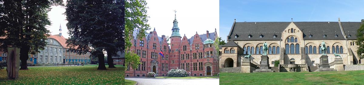 von links nach rechts: Kloster Frenswegen | Kaiserpfalz Goslar, Foto: George | Landschaftshaus