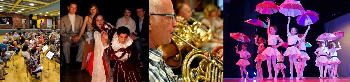 von links nach rechts: Sinfonieorchester | Schultheater | Sinfonieorchester | Theaterpädagogisches Zentrum